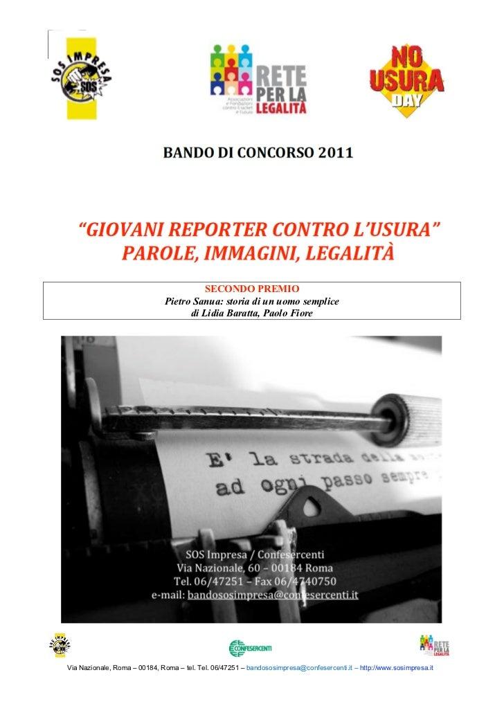 Bando Giovani Reporter contro lUsura                                               1° Edizione, 2011                      ...