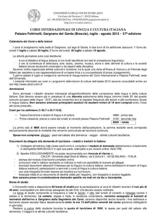 UNIVERSITÀ DEGLI STUDI DI MILANO                                               Via Festa del Perdono 7 - 20122 Milano     ...