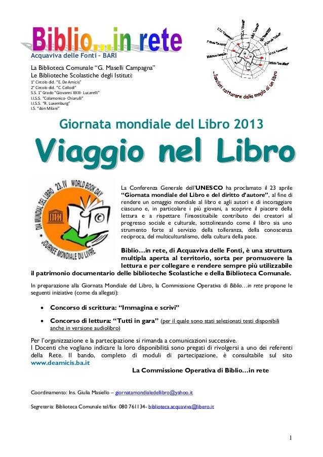"""Acquaviva delle Fonti – BARILa Biblioteca Comunale """"G. Maselli Campagna""""Le Biblioteche Scolastiche degli Istituti:1° Circo..."""