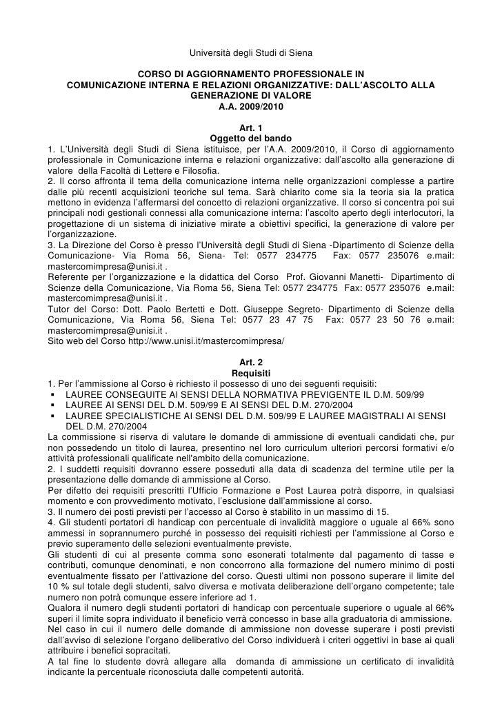Università degli Studi di Siena                  CORSO DI AGGIORNAMENTO PROFESSIONALE IN     COMUNICAZIONE INTERNA E RELAZ...