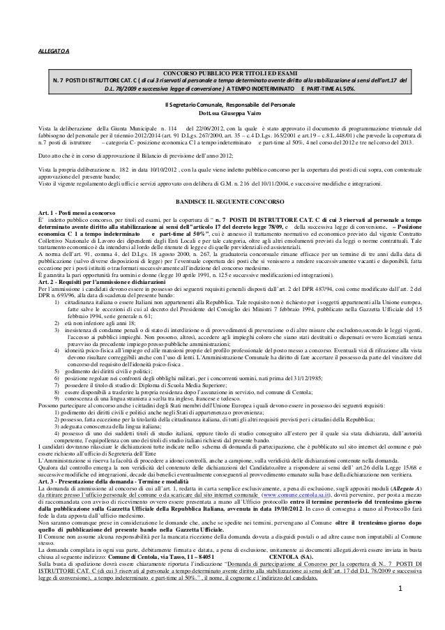 Comune di Centola - Bando di concorso per 7 dipendenti Cat. C1 a tempo indeterminato.