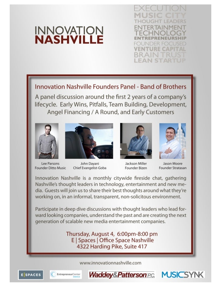 Innovation Nashville August Founders Panel - Band of Brothers  Thurs August 4th at ESpaces 6-8pm