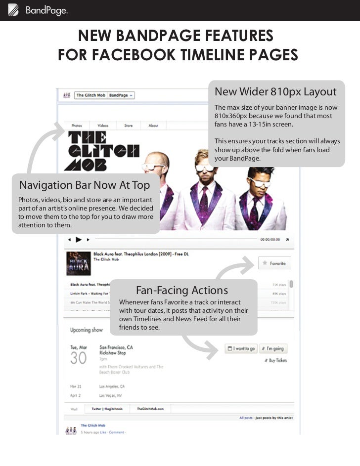 NEW BANDPAGE FEATURES             FOR FACEBOOK TIMELINE PAGES                                                             ...