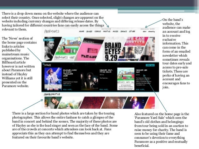 A2 Media Studies: Band Website Analysis Paramore Tour