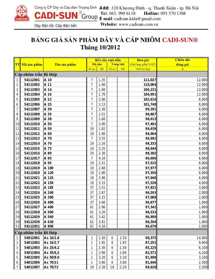 Bảng giá cáp nhôm cadivi-sun 10 2012