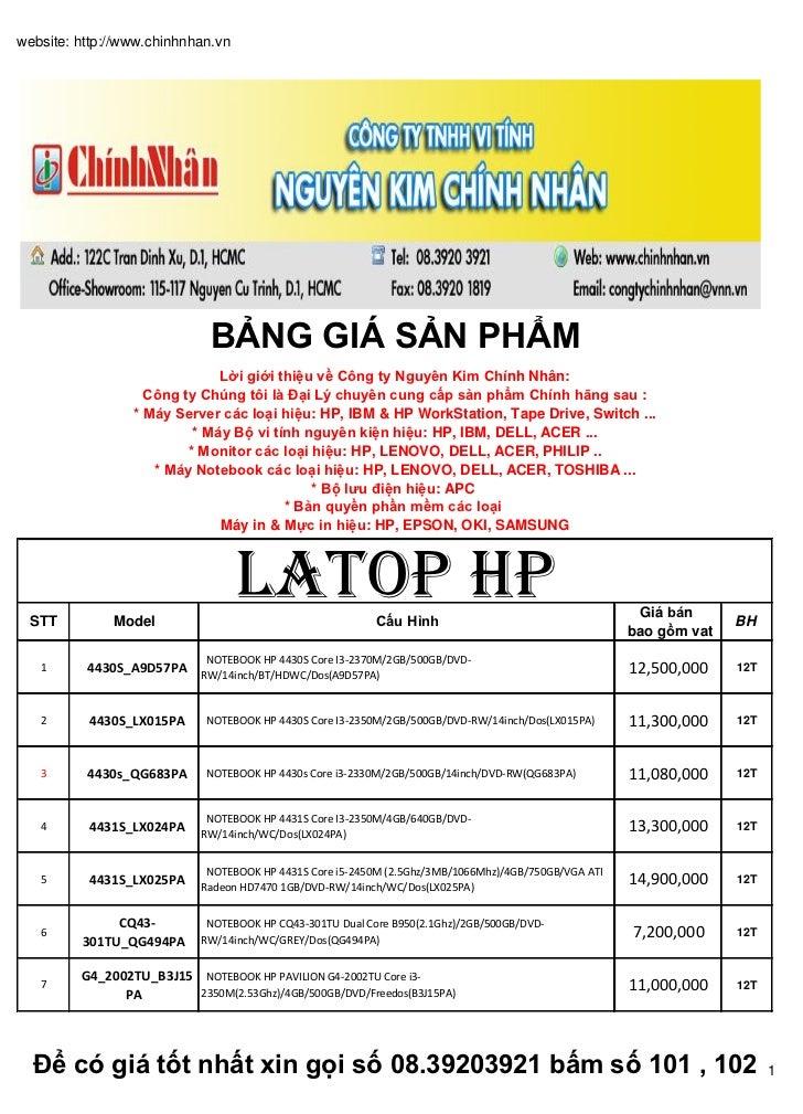Bảng báo giá Laptop tổng hợp giá cực sốc (09/2012 )