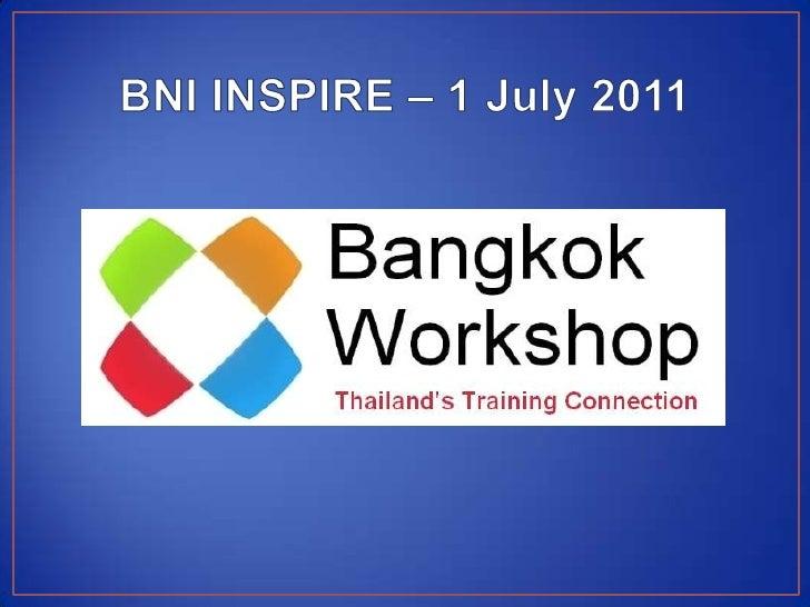 Bangkok Workshop 10 minute presentation