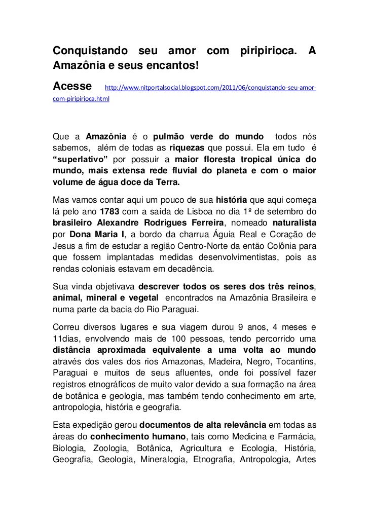 Conquistando seu amor com piripirioca. A Amazônia e seus encantos!<br />Acesse http://www.nitportalsocial.blogspot.com/201...