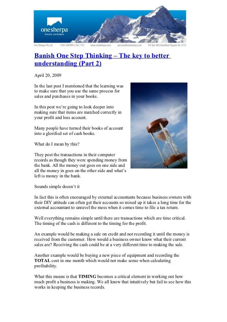 Banish One Step Thinking   Part 2