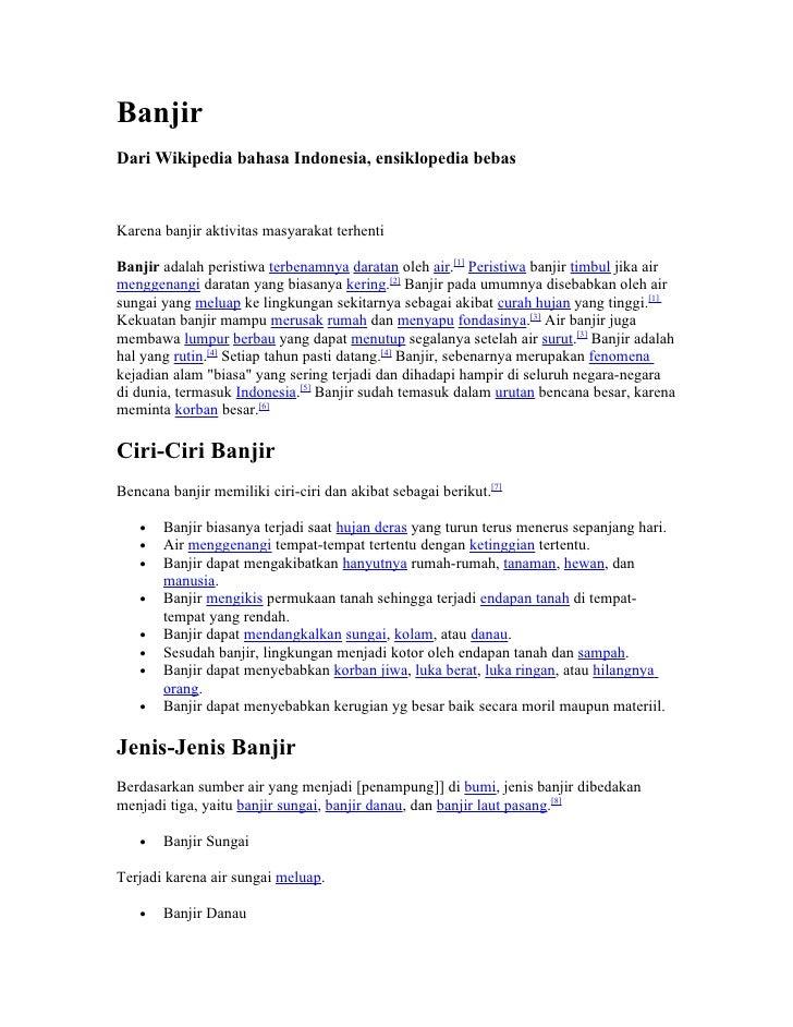 Banjir Dari Wikipedia bahasa Indonesia, ensiklopedia bebas    Karena banjir aktivitas masyarakat terhenti  Banjir adalah p...