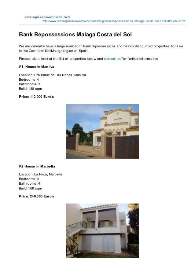 Repossessed Properties For Sale In Spain