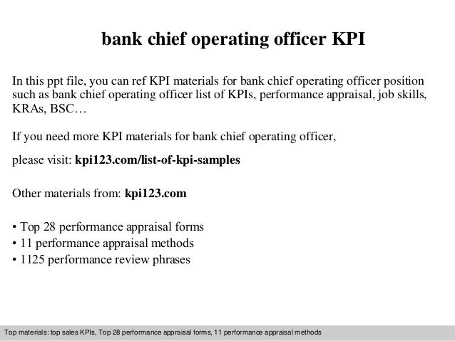 bank chief operating officer kpi