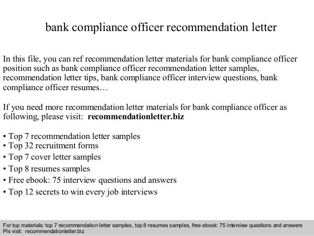 bank compliance officer recommendation letter