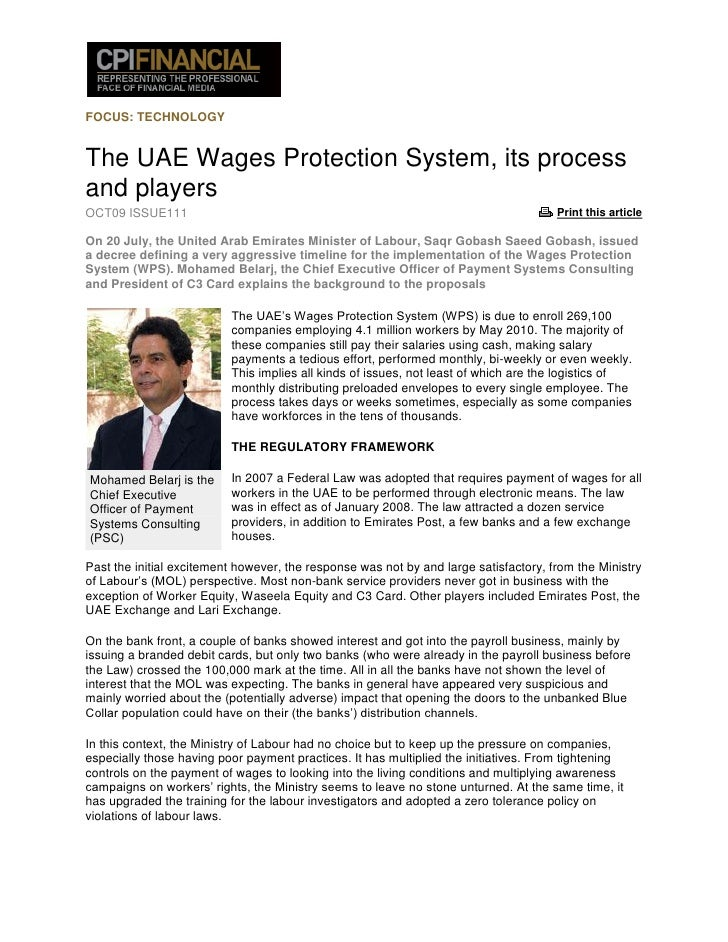 FOCUS: TECHNOLOGY   The UAE Wages Protection System, its process and players OCT09 ISSUE111                               ...