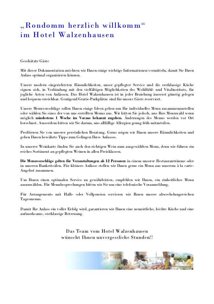 """""""Rondomm herzlich willkomm""""im Hotel WalzenhausenGeschätzte GästeMit dieser Dokumentation möchten wir Ihnen einige wichtige..."""