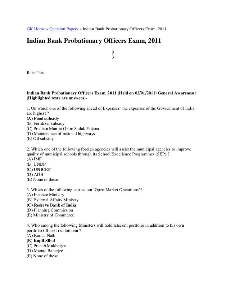 GK Home » Question Papers » Indian Bank Probationary Officers Exam, 2011<br />Indian Bank Probationary Officers Exam, 2011...