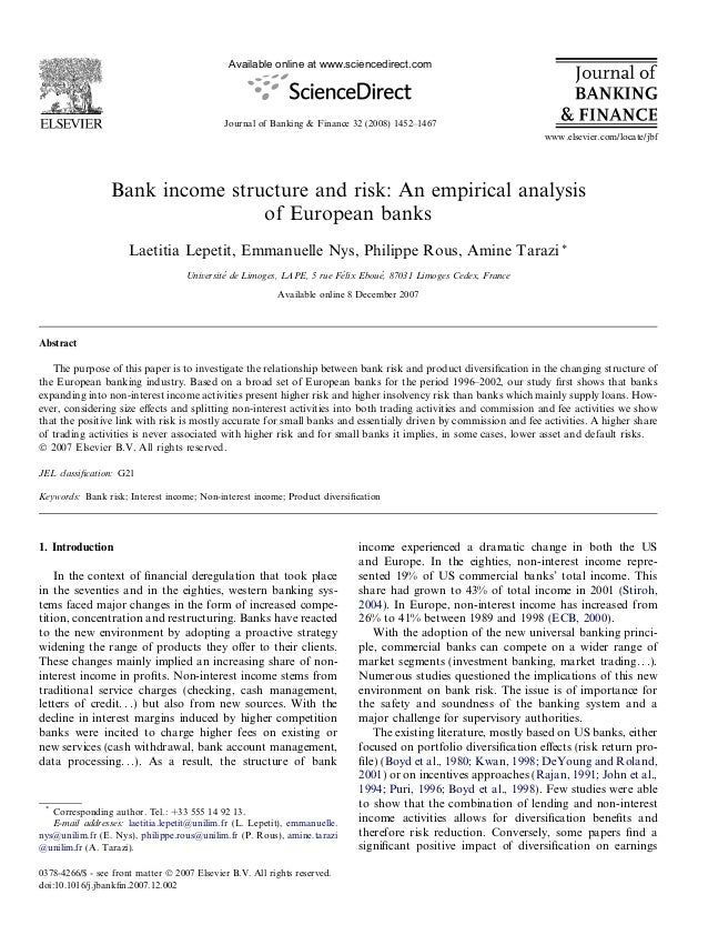Bank income structure and risk: An empirical analysis of European banks