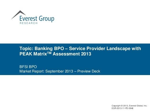 Banking BPO – Service Provider Landscape with PEAK MatrixTM Assessment 2013