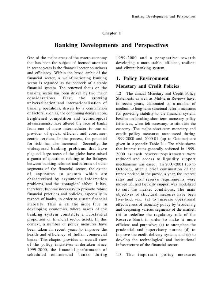 Banking Developments and Perspectives                                              Chapter I                Banking Develo...