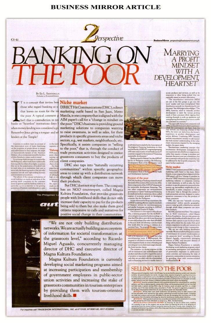 Banking On The Poor, A Business Mirror Article On Magna Kultura