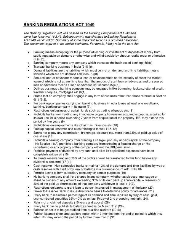 Banking regulations act 1949