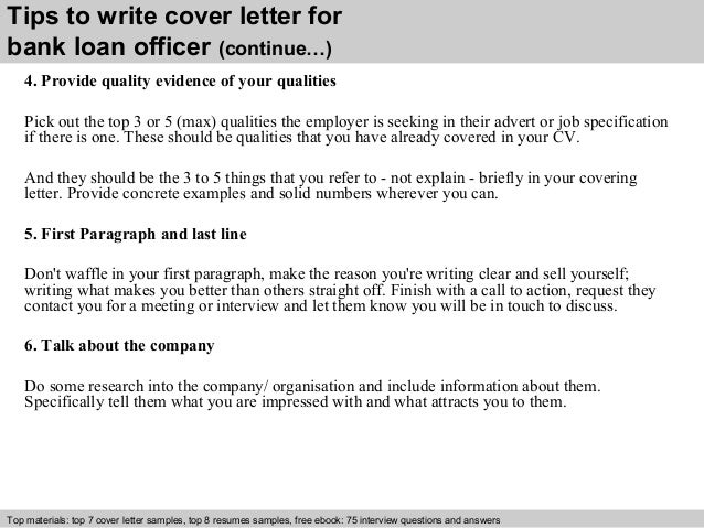 Sample loan officer cover letter