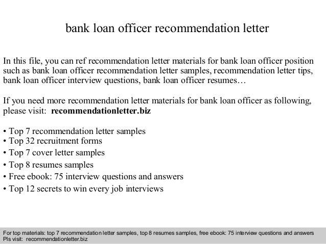 Bank Loan Officer Recommendation Letter
