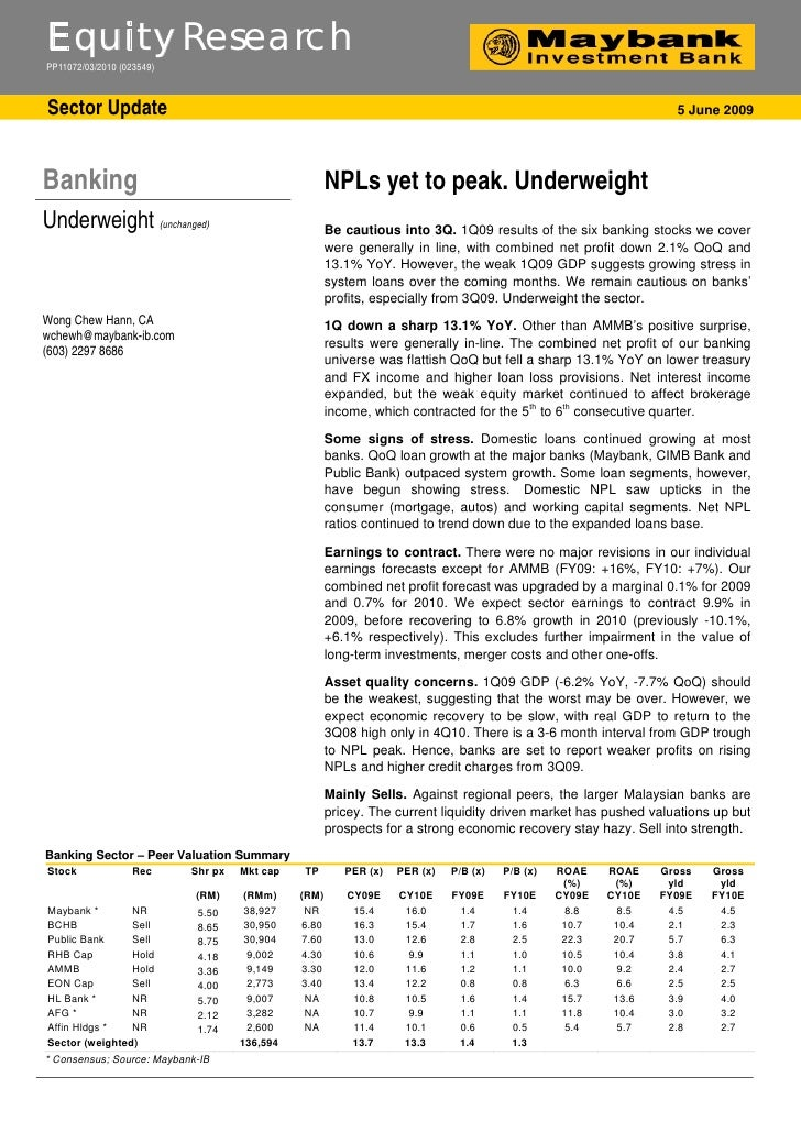 Bank NPLs yet to peak. Underweight