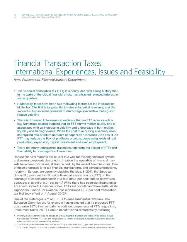 3		   	            Financial Transaction Taxes: International Experiences, Issues and Feasibility            Bank of Canad...