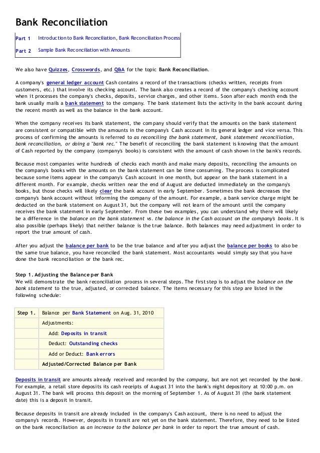 Bank Reconciliation Part 1 Introduction to Bank Reconciliation, Bank Reconciliation Process Part 2 Sample Bank Reconciliat...