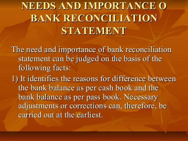 importance of bank reconciliation statement pdf