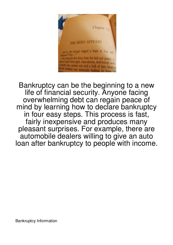 Bankruptcy can be the beginning to a new    life of financial security. Anyone facing   overwhelming debt can regain peace...