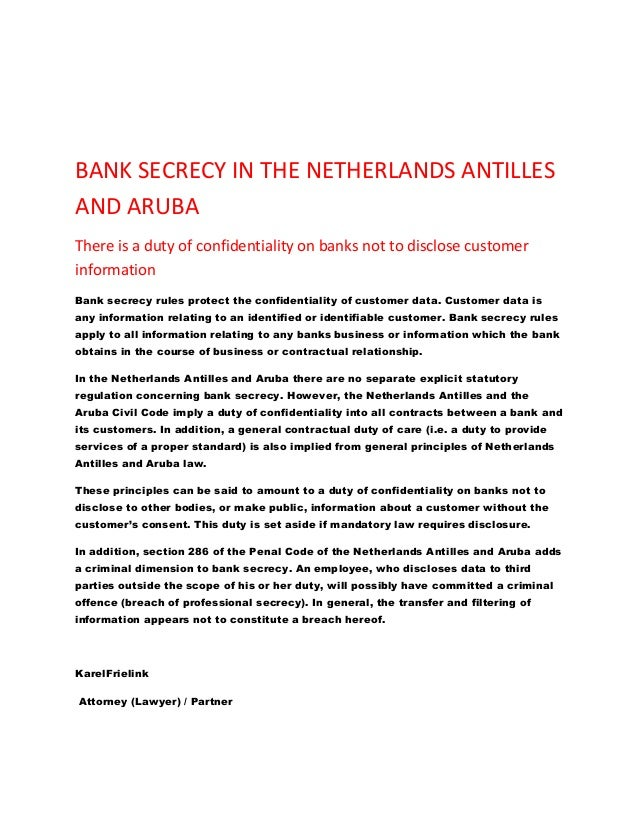Bank secrecy in the netherlands antilles and aruba