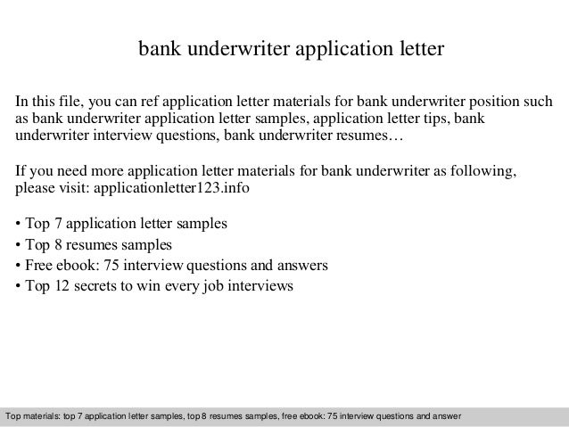 Bank Underwriter Application Letter