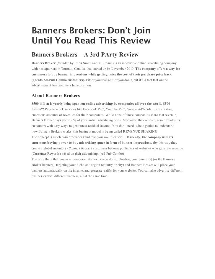 Banners Brokers: Don't JoinUntil You Read This ReviewBanners Brokers – A 3rd PArty ReviewBanners Broker (founded by Chris ...