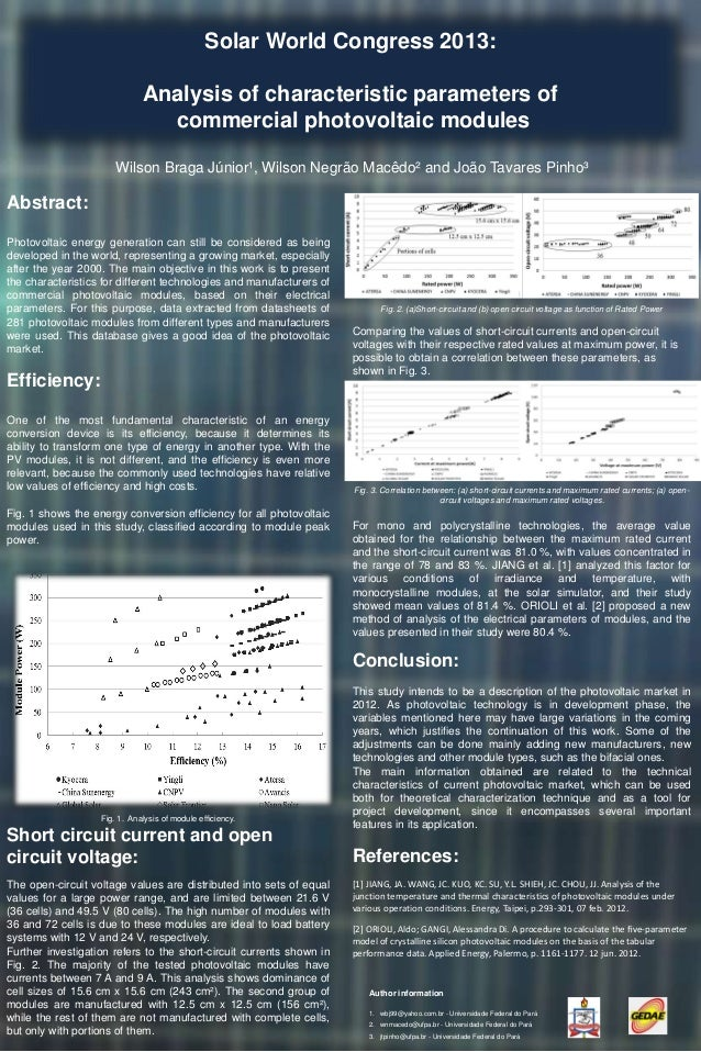 Solar World Congress 2013: Analysis of characteristic parameters of commercial photovoltaic modules Wilson Braga Júnior¹, ...