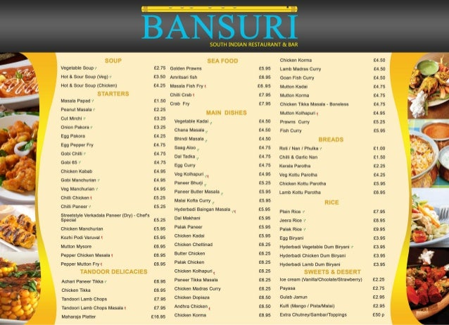Bansuri table menu for Table menu restaurant