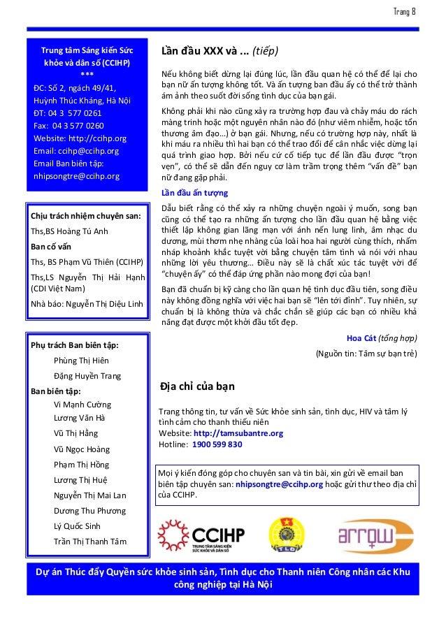 Trang 8  Trung tâm Sáng kiến Sức       Lần đầu XXX và ... (tiếp)   khỏe và dân số (CCIHP)             ***                N...