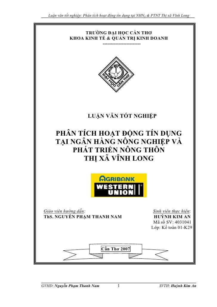 Luận văn tốt nghiệp: Phân tích hoạt động tín dụng tại NHNN & PTNT Thị xã Vĩnh Long