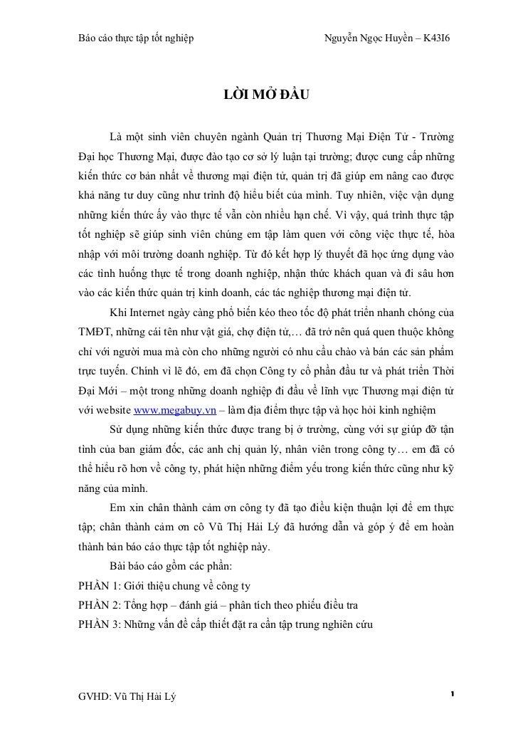 Báo cáo thực tập tốt nghiệp                          Nguyễn Ngọc Huyền – K43I6                               LỜI MỞ ĐẦU   ...