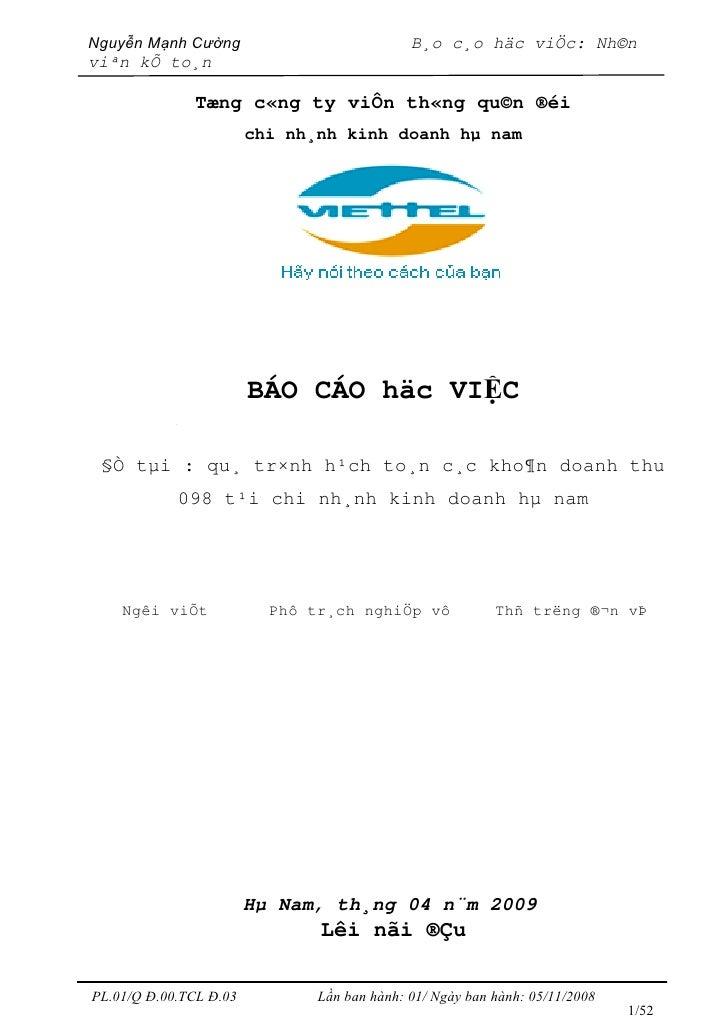 Nguyễn Mạnh Cường                            B¸o c¸o häc viÖc: Nh©n viªn kÕ to¸n                   Tæng c«ng ty viÔn th«ng...