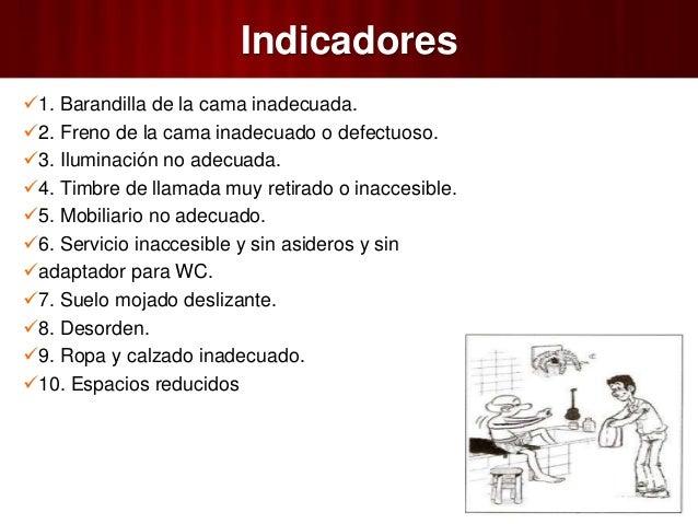 Baño En Ducha De Un Paciente:indicadores 1 barandilla de la cama inadecuada 2 freno de