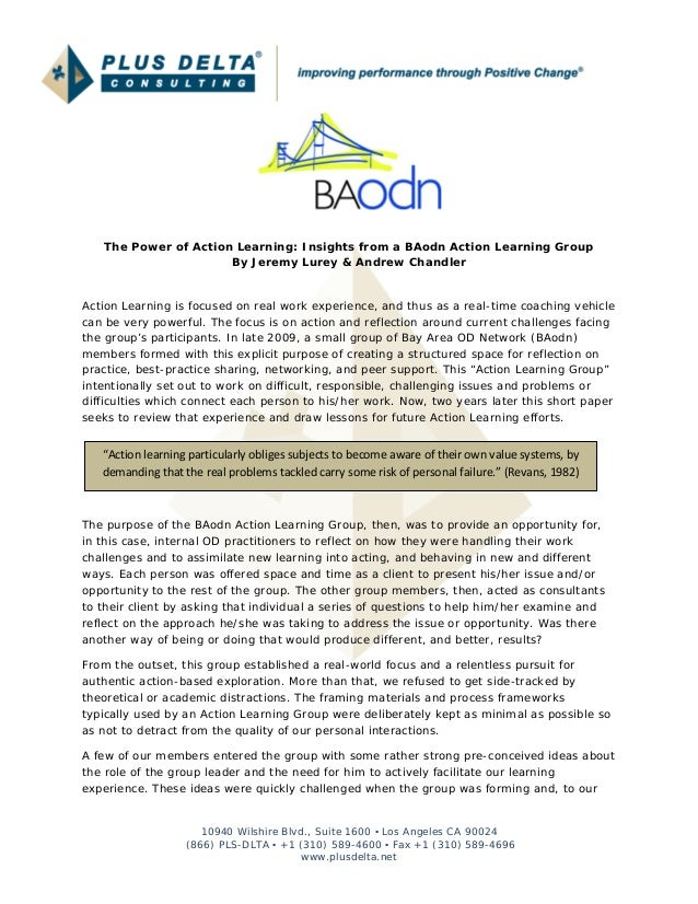The Power of Action Learning: Insights from a BAodn Action Learning Group                      By Jeremy Lurey & Andrew Ch...
