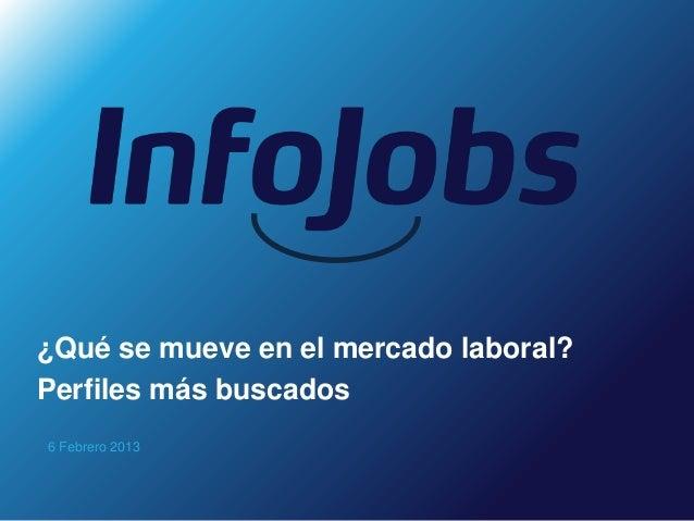 ¿Qué se mueve en el mercado laboral?Perfiles más buscados6 Febrero 2013