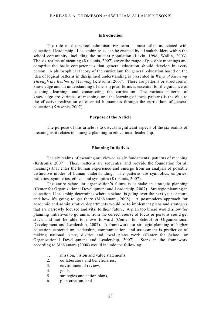 B. Thompson & W.A. Kritsonis, PhD