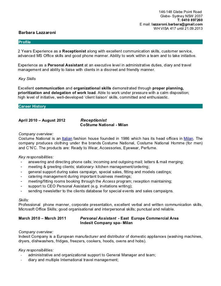 Resume Summary Examples Receptionist – Skills for Receptionist Resume
