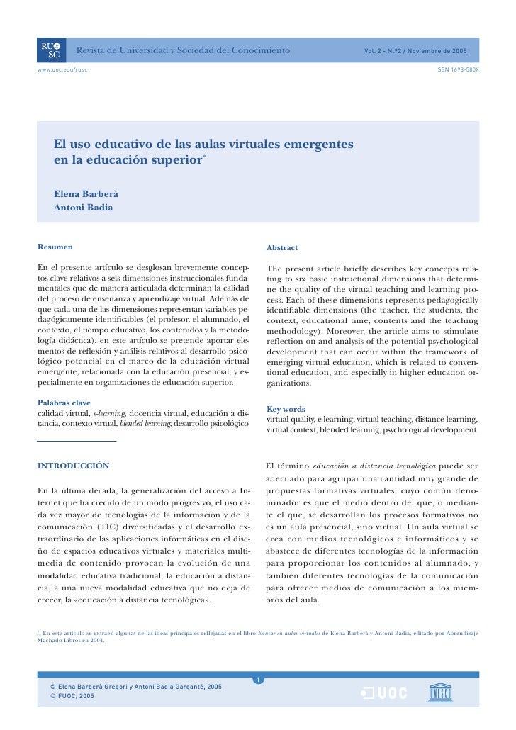 El uso educativo de las aulas virtuales emergentes en la educación superior