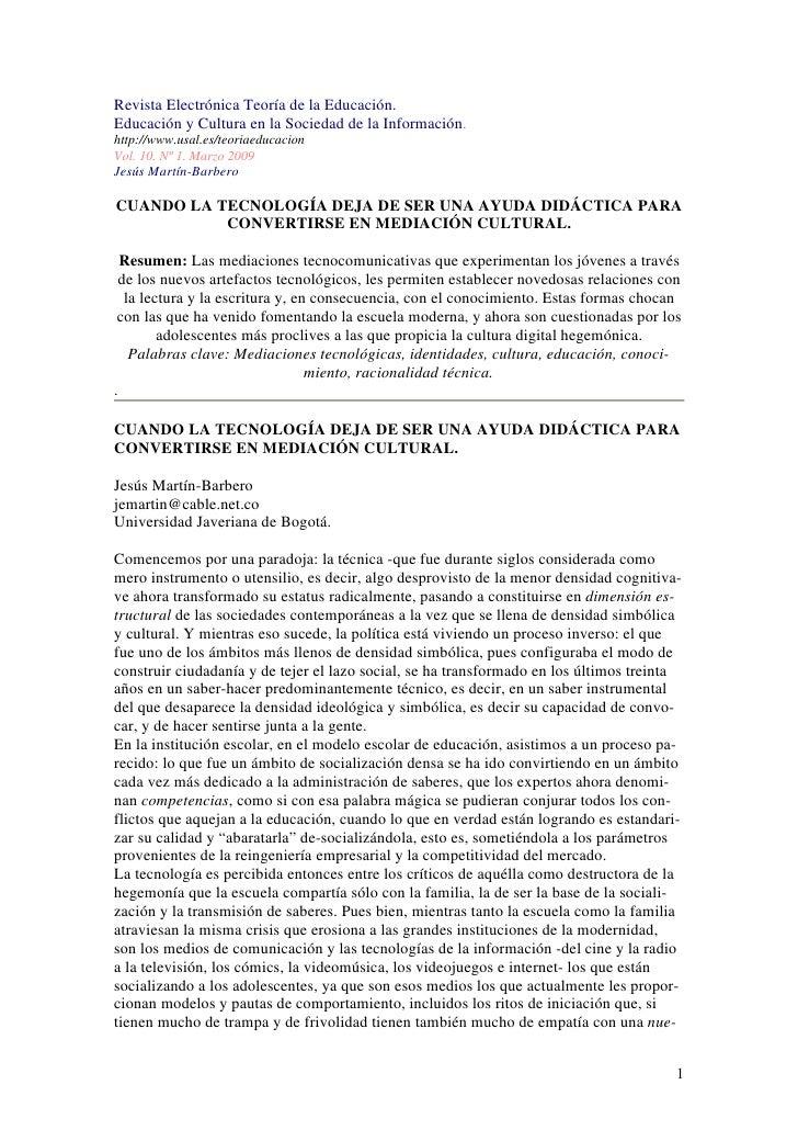 Revista Electrónica Teoría de la Educación. Educación y Cultura en la Sociedad de la Información. http://www.usal.es/teori...