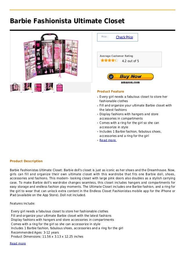 Barbie Fashionista Ultimate Closet                                                                Price :                 ...