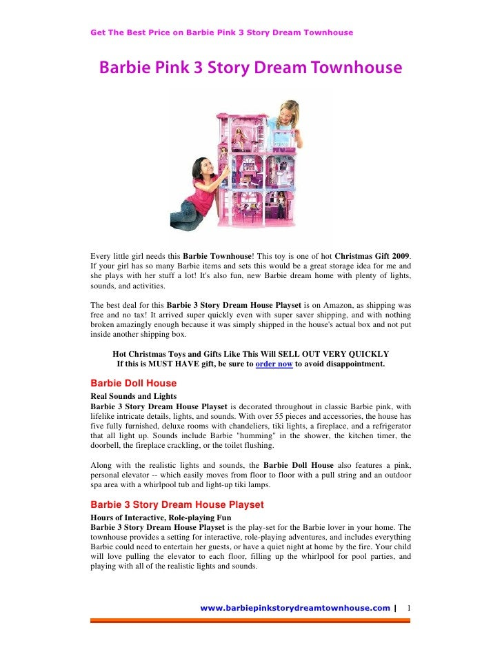 Barbie Pink 3 Story Dream Townhouse